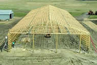 A Polebarn Post Frame Building Being Put Up